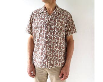 Vintage 1950s Shirt | Men's Paisley Shirt | 50s Shirt | Large L