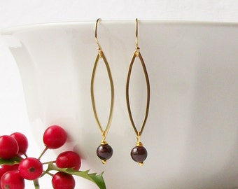 Garnet Dangle Earrings, Birthstone Earrings