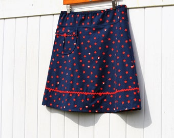A Line Skirt, Apple Skirt, Skirt with Cute Pocket, Navy Blue, Red Ric Rac, Simple A-line, Custom made in all sizes, and lengths