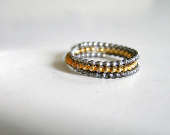 3 Beaded Stacking Rings Oxidized and gold plated Sterling Silver Stackable rings. Granulated black and gold stacking rings.