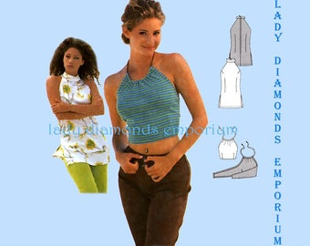 Burda 2944 Womens Backless Cropped Halter Top or High Neck Bare Shoulder Tunic size 6 8 10 12 14 16 Sewing Pattern Uncut FF