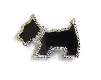 Black Enamel Scotty Dog Brooch Vintage with Rhinestone Collar