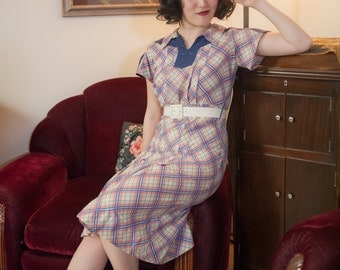 Vintage 1930s Dress - Fabulous Multicolored Plaid Cotton Deco 30s Day Dress
