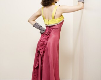 Vintage 1930s Dress - Spring 2017 Lookbook - The Trellis Gown - Fuchsia Bias Cut Taffeta Late 30s Gown with Ruffles and Chartruese Trim