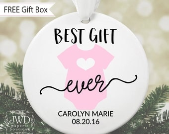 Best Gift Ever Onesie Personalized Baby Christmas Ornament Newborn Gift Personalized Baby Shower Gift Custom Birth Date Ornament #OR04MG