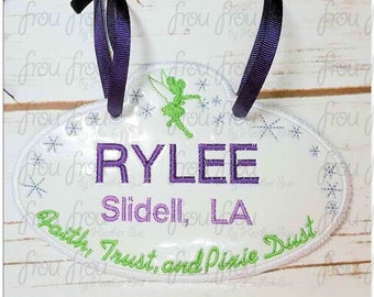 "Digital Embroidery Design Machine Applique Stroller Name Tag Tinkk Faith Trust Pixie Dust IN THE HOOP Project 4""-16"""