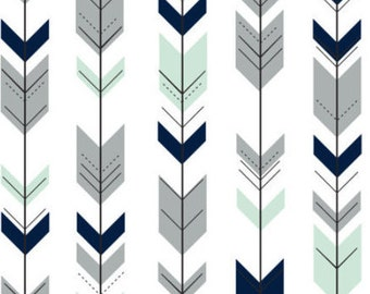 minky baby blanket | arrow baby blanket | mint baby bedding | fletching arrow | navy and mint | crib bedding | minky blanket