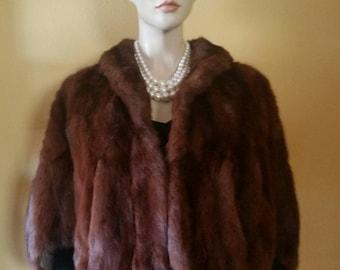 Vintage - Fur Stole - Mahogany - Real Fur Capelet- Wedding Fur Stole - Minty Condition - Vintage Fur Stole