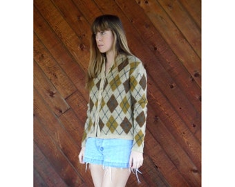 Brown Argyle 60s Cardigan Sweater - Vintage - SMALL