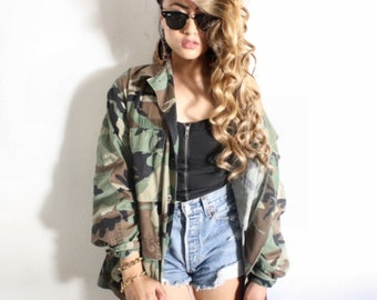 Camo Jacket Vintage Army Jacket Military Issued Button Down Shirt Jacket ALL SIZES