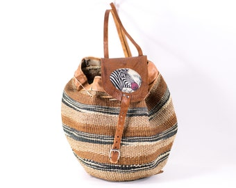 Woven Raffia Backpack Vintage ZEBRA Basket Bag Satchel Carryall Tote