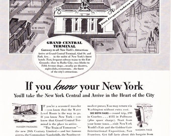1930s Advertisement - New York City Grand Central Station - Vintage Antique 30s Era Art Ad for Framing