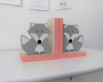 Fox Bookends, Gray and Coral Pink, Girl Woodland Nursery, Woodland Kids Decor, Girl Fox Nursery, Girl Forest Themed Nursery, Baby Girl Fox