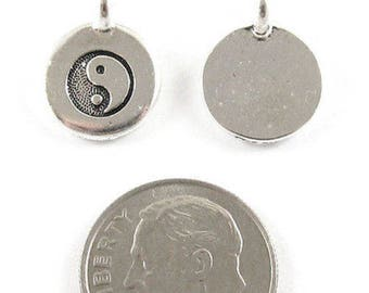 TierraCast Pewter Charms-Silver Round Yin Yang 12x16mm (2)