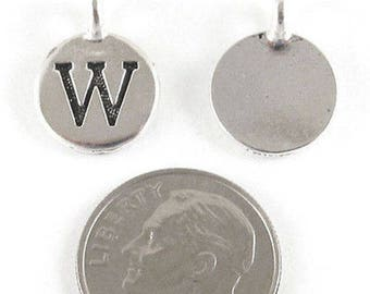 "TierraCast Pewter Initial Charms-Silver Round Letter ""W"" 12x16mm (2)"