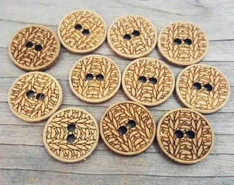 """Knitting Buttons (5/8"""", 3/4"""", 1.25"""", 1.5"""", 2"""") Bamboo Wood Knit Button"""