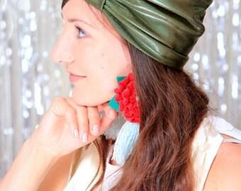 Olive Turban Hat - Women's Dark Green Metallic Head Wrap - Holiday Fashion - Bohemian Style Hair Turbans - Lots of Colors