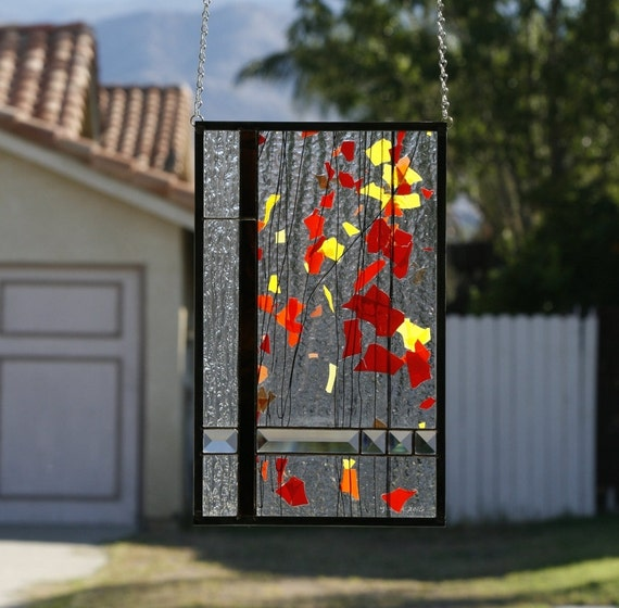 AUTUMN-Abstract Stained Glass Window Panel, Stained Glass Window, Stain Glass, Fall, Autumn Leaves, Orange, Yellow, Red, Rust, Ready to Ship