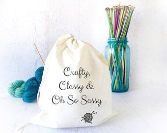 Yarn Organizer- Crochet Project Bag-   Yarn Storage- Funny Project Bag- Drawstring Project Bag for Knitting- Sock Knitting- Yarn Bowl