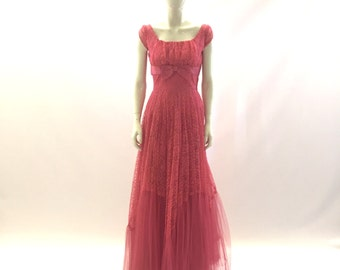 Vintage 1950s Long PINK Sheer Tulle PROM / Dance / Homecoming / Party / Event Long  Dress / Gown Size SMALL