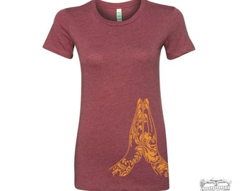 Women's NAMASTE Hands t shirt -hand screen printed s m l xl xxl (+ Colors Available)