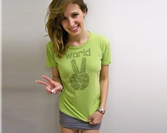 Vacation, Womens graphic tees, Peace sign shirt, spring, mother gift, be kind, slim fit, World Peace, mother girlfriend, green yoga clothing