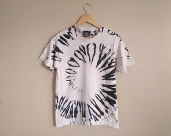 SMALL Albino Spiral Tie Dye. Inverse white and black reverse hand dyed, unique tie dye on 100% cotton shirt