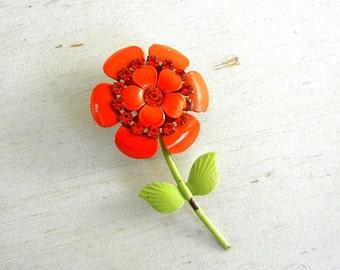 Enamel Flower Brooch | Rhinestone Flower Pin | Vintage Jewelry | Flower Pin | Vintage Flower Pin