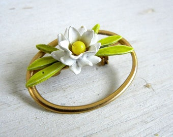 White Enamel Flower Brooch | Enamel Flower Pin | Vintage Jewelry | Vintage Flower Pin
