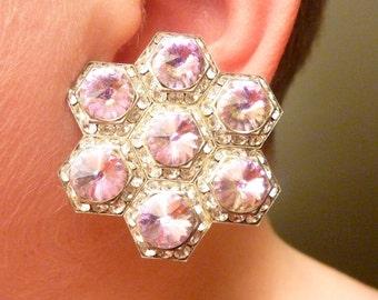 Large Vintage Jon Michelle Pink Rivoli Crystal Earrings