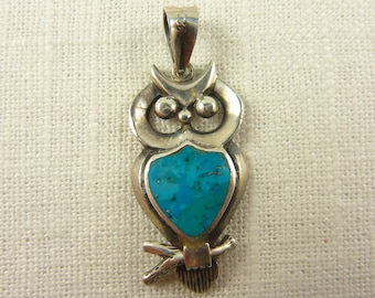 Vintage Sterling Turquoise Owl Pendant