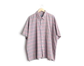Size 3XL // PINK PLAID OXFORD // Short Sleeve Button-Up Shirt - Pink & Green - Vintage '80s.