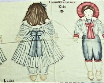 Vintage Cut Sew and Stuff Doll Fabric Country Classics Kids, Jessica doll Jeremy Doll, old fashion dolls
