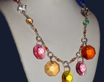 Swarovski Crystals Sterling Silver Modern Sparkly Necklace Thick Heavy Sterling Silver Chain