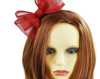 6 Inch Dark Red Fascinator Hat for Weddings, Occasions and Parties on a Headband **SAMPLE SALE