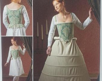 Misses 16th Century Undergarments Pattern Andrea Schewe Design Simplicity 2621 Misses Corset,Shift,Bum Roll an Hoop Skirt Pattern Size 8-16