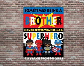 Brothers Superhero Art, African American Superhero Art, DIGITAL, YOU Print, African American Brothers Decor, Superhero Brothers Art