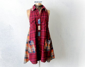 Women Flannel Plaid Dress Country Clothing Rustic Frayed Shirt Casual Everyday Red Boho Sundress Up Cycle Clothes Altered Couture S M 'DARBY