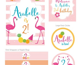 Party Kit: Flamingo Hawaiian Party Decorations, Flamingo Tropical Birthday, Flamingo Party Kit, Flamingo Party Collection, DIGITAL FILES