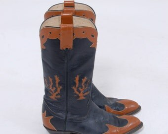 Vintage Cowboy Boots CACTUS Leather Inlay Western Boots LARRY MAHAN Black & Mocha Leather Cowgirl Boots Size 6