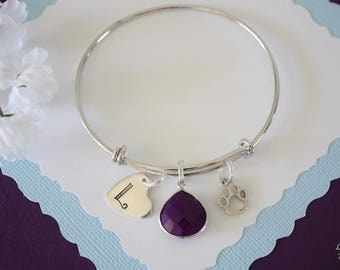 Initial Heart Bangle Bracelet Silver, Pet name Charm, Furry Mom, Expandable, Sterling Silver, Paw Charm, Monogram Bracelet, Charm Bracelet