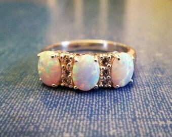 RING  - Triple - Fire OPAL  - White Topaz  - 925 - Sterling Silver - size 9  opal 423