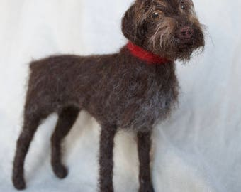 Needle Felted Wirehaired Pointing Griffon, Wool Pet Portrait