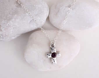 SALE 50% OFF! Discounted Cross Birthstone Personalized Necklace in Sterling Silver. Your choice of charm. Limited Quantities!