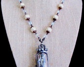 RESERVED for Myriam Catholic Virgin Mary Our Lady of Miraculous Medal Altered Art Soldered Religious Handmade Necklace