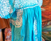 Mexican Dress, Oaxacan Dress, embroidered dress, Turquoise Mexican dress, Blue Mexican, size M / L
