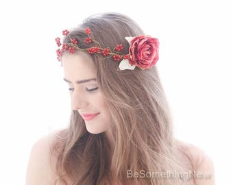 Marsala Beaded Flower Crown Wedding Hair Vine in Burgundy and gold, Red Flower Hair Comb for Bridesmaids or Bride