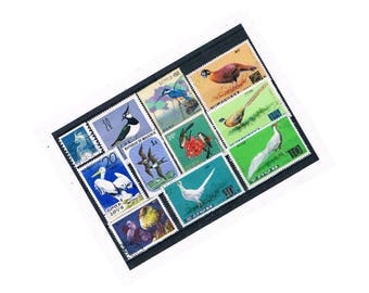 Colourful Bird Postage Stamp Selection on stock card