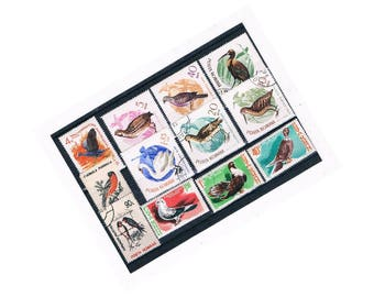 Bird Postage Stamp Selection 3 | retro vintage Romania stamps swan, swallow, pigeon waterfowl etc | craft collage decoupage upcycle collect