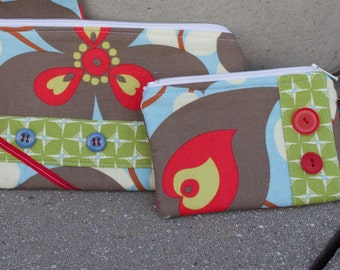 Button Up Floral Zip Pouch great for Mother's Day gift!